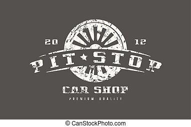 Car shop badge with shabby texture