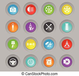 car shop colored plastic round buttons icon set