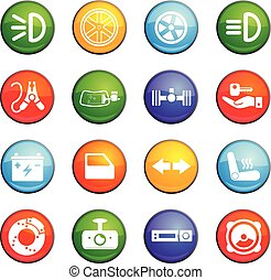 car shop icon set