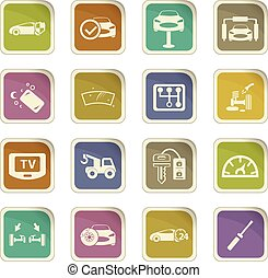 Car shop icons set - Car shop icon set for web sites and...