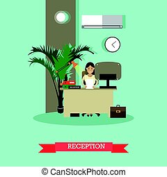 Car shop reception concept vector illustration in flat style