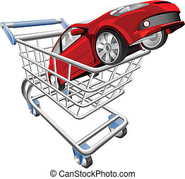 An illustration of a shopping cart trolley with car