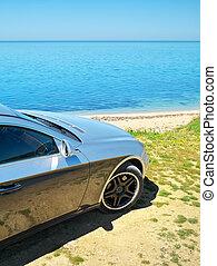 car, shore., mar