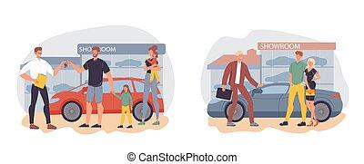 Car showroom, auto dealership or rental center set