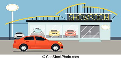 Car Showroom Illustration - Flat Design, Panorama,...