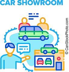 Car Showroom Vector Concept Color Illustration