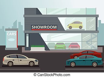 Car Showroom. Vector flat illustration