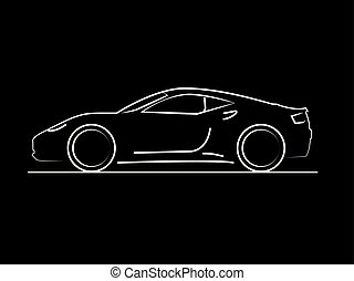 Car side view line drawing on black background in vector format.