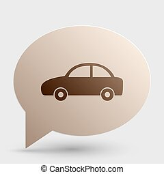 Car sign illustration. Brown gradient icon on bubble with shadow.