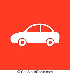 Car sign illustration. White icon on red background.