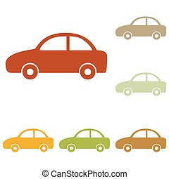 Car sign illustration. Colorful autumn set of icons.