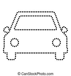 Car sign illustration. Dot style or bullet style icon on...