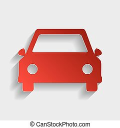 Car sign illustration. Red paper style icon with shadow on...