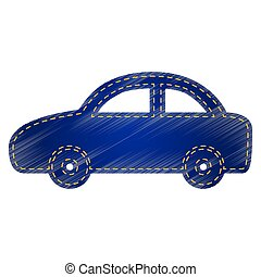 Car sign illustration. Jeans style icon on white background.