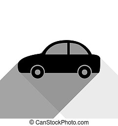 Car sign illustration. Vector. Black icon with two flat gray shadows on white background.