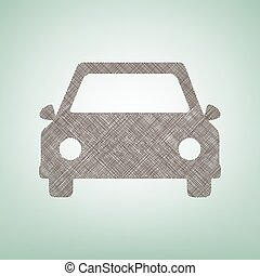 Car sign illustration. Vector. Brown flax icon on green background with light spot at the center.