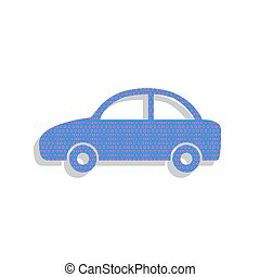 Car sign illustration. Vector. Neon blue icon with cyclamen polk
