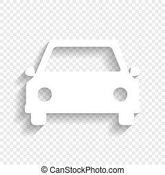 Car Sign Illustration Vector White Icon With Soft Shadow On Transparent Background