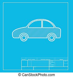 Car sign illustration. White section of icon on blueprint template.