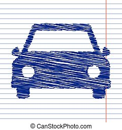 Car sign illustration with chalk effect on school paper