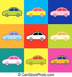 Car sign. Pop-art style colorful icons set with 3 colors.