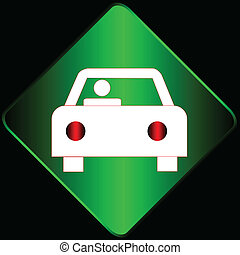 Car sign - Green sign with the car on a black background