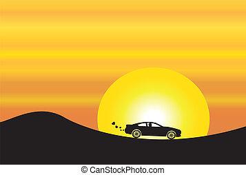 car silhouette on mountain sky sun