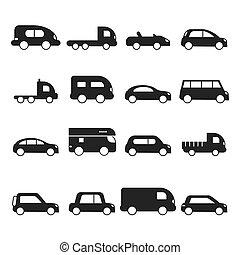 Car silhouettes icon. Type of transport minivan truck suv...