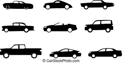 Car silhouettes isolated on white.