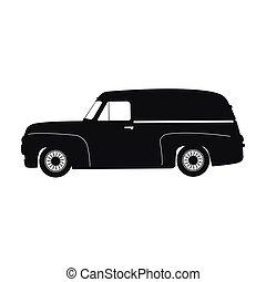 car, silueta, retro, pretas