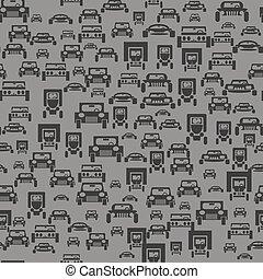 car, silueta, seamless, padrão