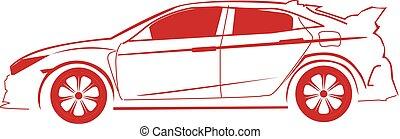 car, silueta, vermelho