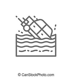 Car sinks in water line icon. Isolated on white background