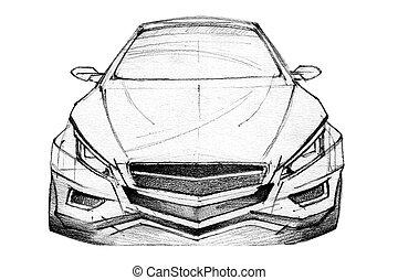 Car Sketch - Hand Drawn Illustration Of A Modern Car