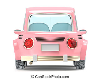 car small cartoon pink back