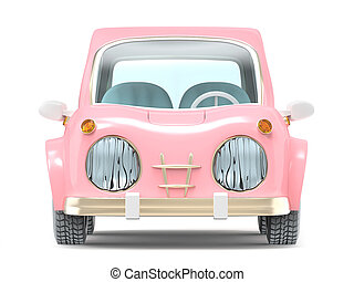car small cartoon pink front
