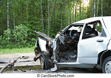 Total car crash smash accident on an interstate road