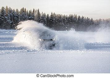 Car snow drift explosion - A vechical sliding into deep snow...