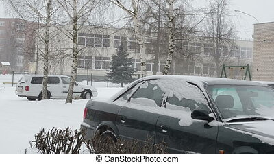 car snow fall winter