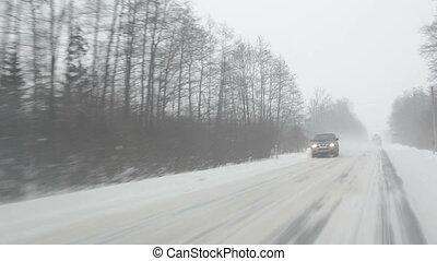 car snow fall winter road