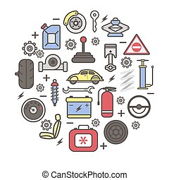 Car spare parts and details vector poster
