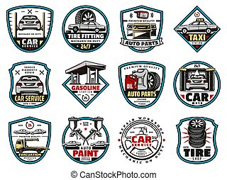 Car spare parts and motor oil, tire, battery icons