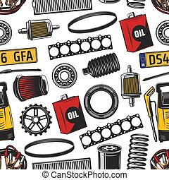 Car spare parts and tools seamless pattern - Vehicle service...