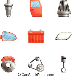 Car spare parts icon set, cartoon style