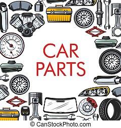 Car spare parts, repair service, vector