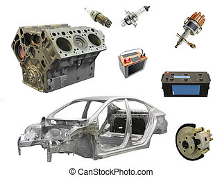car spare parts - The image of different car spare parts