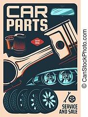 Car spare parts store, repair shop retro banner
