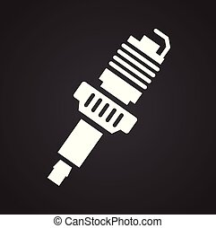 Car spark plug icon on black background for graphic and web design, Modern simple vector sign. Internet concept. Trendy symbol for website design web button or mobile app.