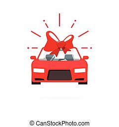 Car special offer idea red color, auto sale price present vector illustration