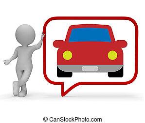 Car Speech Bubble Shows Communication Gossip 3d Rendering